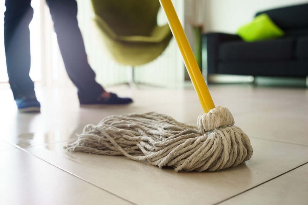 Woman Doing Chores Cleaning Floor At Home Focus on Mop